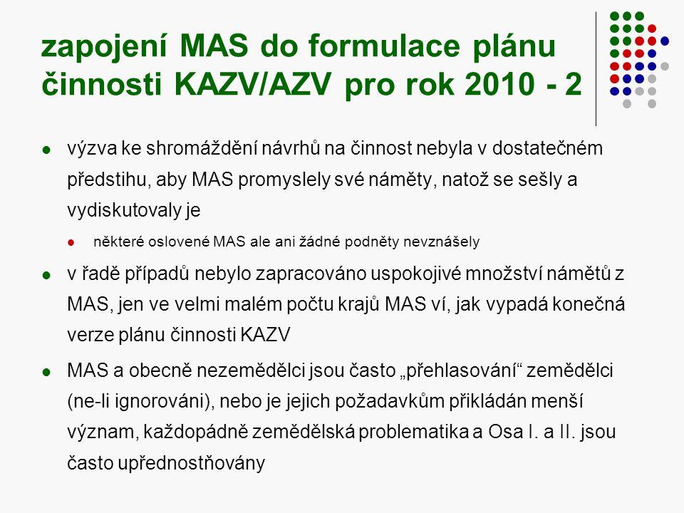 """zapojení MAS do formulace plánu činnosti KAZV/AZV pro rok 2010 - 2  výzva ke shromáždění návrhů na činnost nebyla v dostatečném předstihu, aby MAS promyslely své náměty, natož se sešly a vydiskutovaly je  některé oslovené MAS ale ani žádné podněty nevznášely  v řadě případů nebylo zapracováno uspokojivé množství námětů z MAS, jen ve velmi malém počtu krajů MAS ví, jak vypadá konečná verze plánu činnosti KAZV  MAS a obecně nezemědělci jsou často """"přehlasování zemědělci (ne-li ignorováni), nebo je jejich požadavkům přikládán menší význam, každopádně zemědělská problematika a Osa I."""