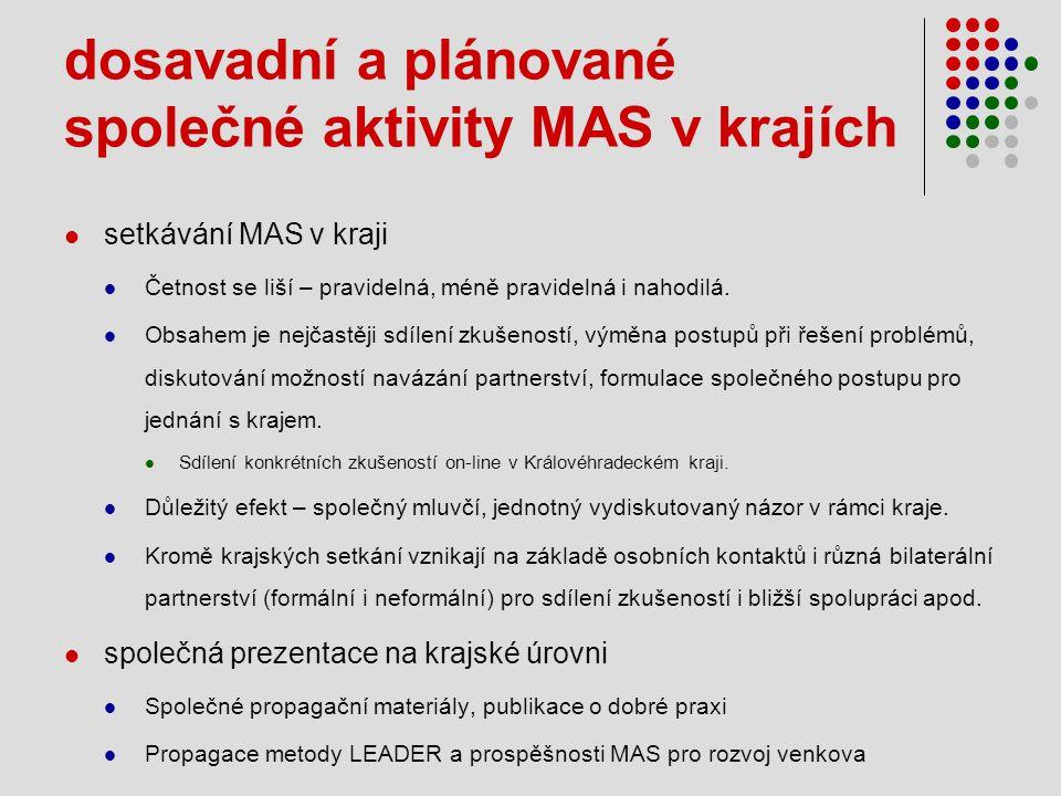 dosavadní a plánované společné aktivity MAS v krajích  setkávání MAS v kraji  Četnost se liší – pravidelná, méně pravidelná i nahodilá.