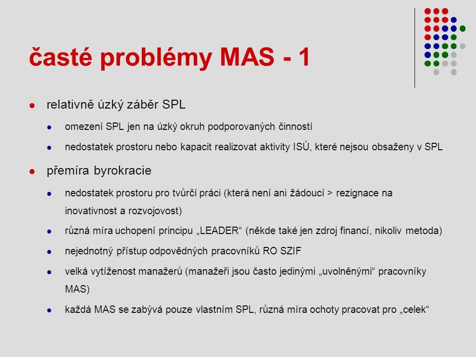 """časté problémy MAS - 1  relativně úzký záběr SPL  omezení SPL jen na úzký okruh podporovaných činností  nedostatek prostoru nebo kapacit realizovat aktivity ISÚ, které nejsou obsaženy v SPL  přemíra byrokracie  nedostatek prostoru pro tvůrčí práci (která není ani žádoucí > rezignace na inovativnost a rozvojovost)  různá míra uchopení principu """"LEADER (někde také jen zdroj financí, nikoliv metoda)  nejednotný přístup odpovědných pracovníků RO SZIF  velká vytíženost manažerů (manažeři jsou často jedinými """"uvolněnými pracovníky MAS)  každá MAS se zabývá pouze vlastním SPL, různá míra ochoty pracovat pro """"celek"""