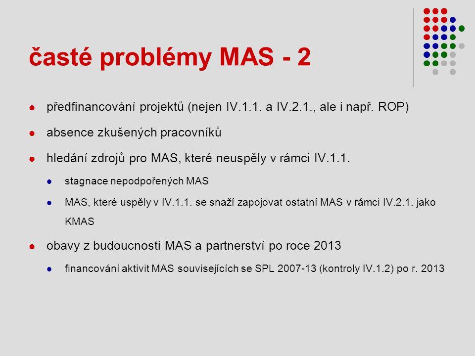 časté problémy MAS - 2  předfinancování projektů (nejen IV.1.1.
