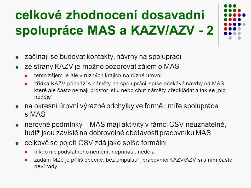 """celkové zhodnocení dosavadní spolupráce MAS a KAZV/AZV - 2  začínají se budovat kontakty, návrhy na spolupráci  ze strany KAZV je možno pozorovat zájem o MAS  tento zájem je ale v různých krajích na různé úrovni  zřídka KAZV přichází s náměty na spolupráci, spíše očekává návrhy od MAS, které ale často nemají prostor, sílu nebo chuť náměty předkládat a tak se """"nic neděje  na okresní úrovni výrazné odchylky ve formě i míře spolupráce s MAS  nerovné podmínky – MAS mají aktivity v rámci CSV neuznatelné, tudíž jsou závislé na dobrovolné obětavosti pracovníků MAS  celkově se pojetí CSV zdá jako spíše formální  nikdo nic podstatného nemění, nepřináší, nedělá  zadání MZe je příliš obecné, bez """"impulsu , pracovníci KAZV/AZV si s ním často neví rady"""