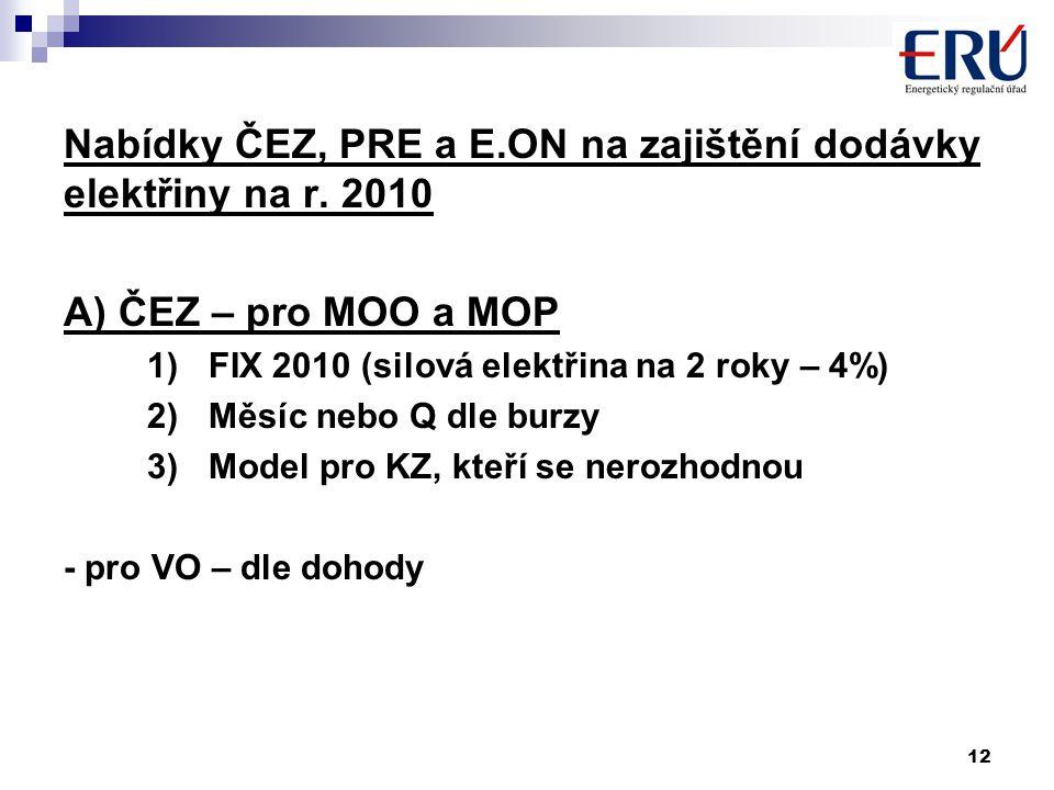 12 Nabídky ČEZ, PRE a E.ON na zajištění dodávky elektřiny na r. 2010 A) ČEZ – pro MOO a MOP 1)FIX 2010 (silová elektřina na 2 roky – 4%) 2)Měsíc nebo