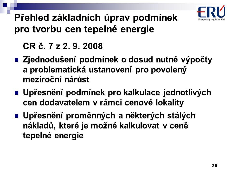 25 Přehled základních úprav podmínek pro tvorbu cen tepelné energie CR č. 7 z 2. 9. 2008  Zjednodušení podmínek o dosud nutné výpočty a problematická