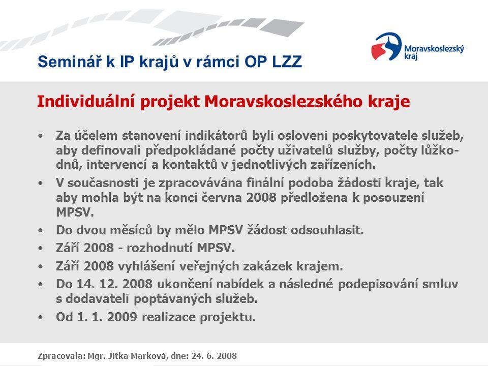 Seminář k IP krajů v rámci OP LZZ Zpracovala: Mgr. Jitka Marková, dne: 24. 6. 2008 Individuální projekt Moravskoslezského kraje •Za účelem stanovení i
