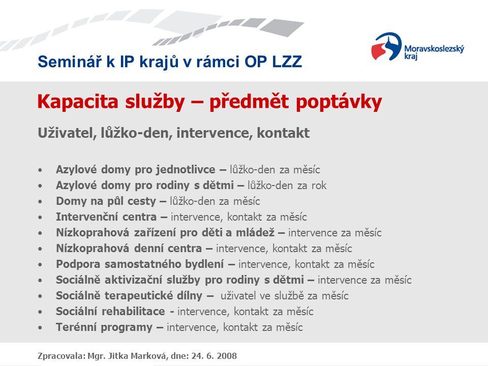 Seminář k IP krajů v rámci OP LZZ Zpracovala: Mgr. Jitka Marková, dne: 24. 6. 2008 Kapacita služby – předmět poptávky Uživatel, lůžko-den, intervence,