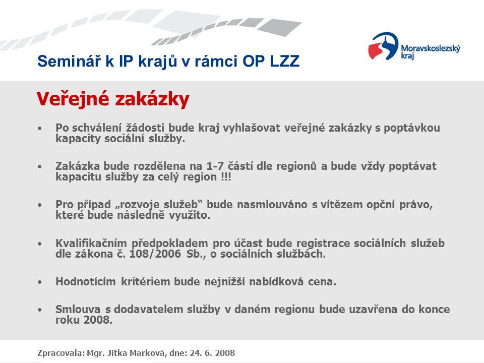 Seminář k IP krajů v rámci OP LZZ Zpracovala: Mgr. Jitka Marková, dne: 24. 6. 2008 Veřejné zakázky •Po schválení žádosti bude kraj vyhlašovat veřejné
