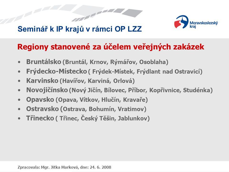 Seminář k IP krajů v rámci OP LZZ Zpracovala: Mgr. Jitka Marková, dne: 24. 6. 2008 Regiony stanovené za účelem veřejných zakázek •Bruntálsko (Bruntál,