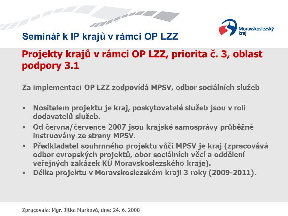 Seminář k IP krajů v rámci OP LZZ Zpracovala: Mgr. Jitka Marková, dne: 24. 6. 2008 Projekty krajů v rámci OP LZZ, priorita č. 3, oblast podpory 3.1 Za