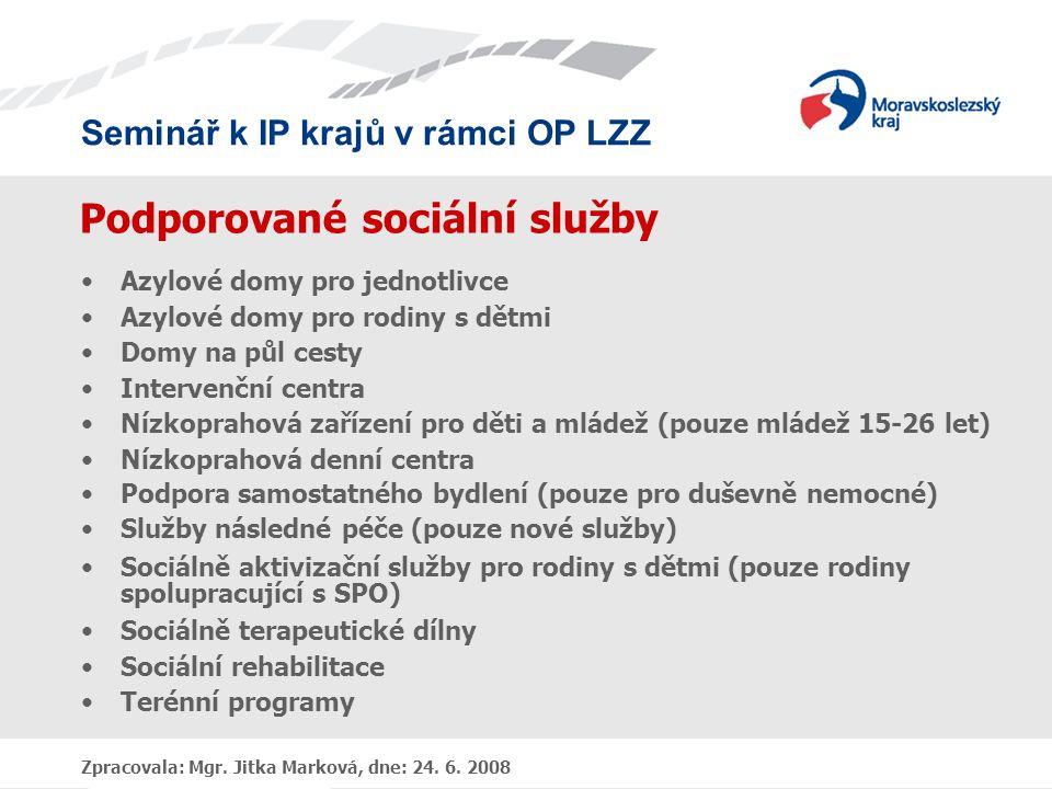 Seminář k IP krajů v rámci OP LZZ Zpracovala: Mgr. Jitka Marková, dne: 24. 6. 2008 Podporované sociální služby •Azylové domy pro jednotlivce •Azylové
