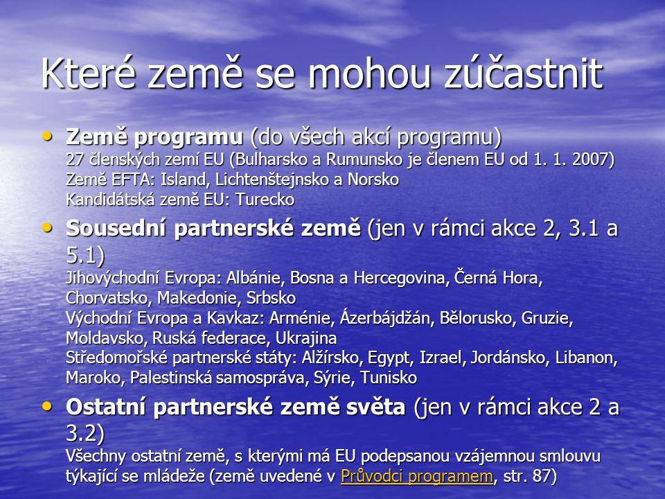 Které země se mohou zúčastnit • Země programu (do všech akcí programu) 27 členských zemí EU (Bulharsko a Rumunsko je členem EU od 1.