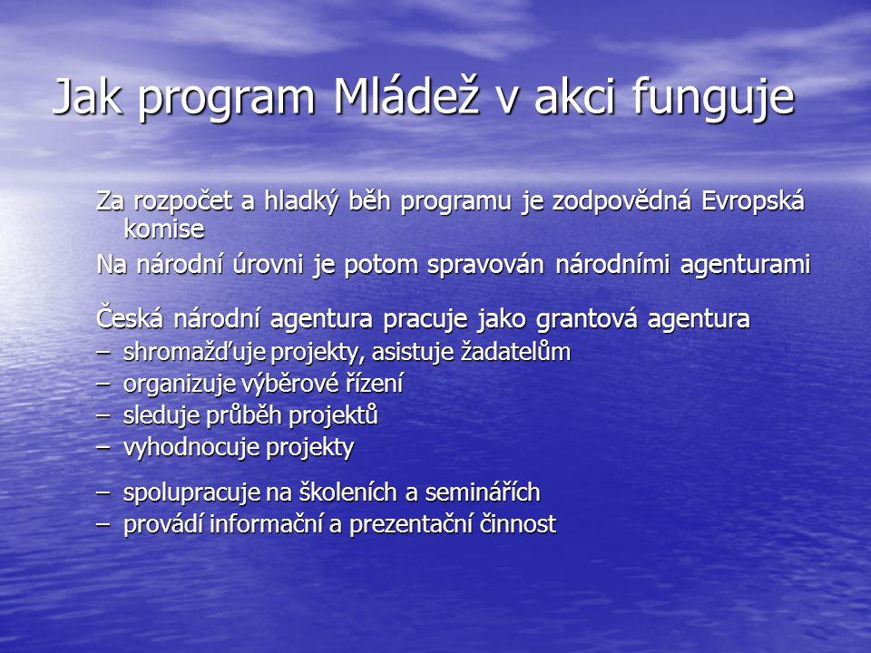 Jak program Mládež v akci funguje Za rozpočet a hladký běh programu je zodpovědná Evropská komise Na národní úrovni je potom spravován národními agenturami Česká národní agentura pracuje jako grantová agentura –shromažďuje projekty, asistuje žadatelům –organizuje výběrové řízení –sleduje průběh projektů –vyhodnocuje projekty –spolupracuje na školeních a seminářích –provádí informační a prezentační činnost