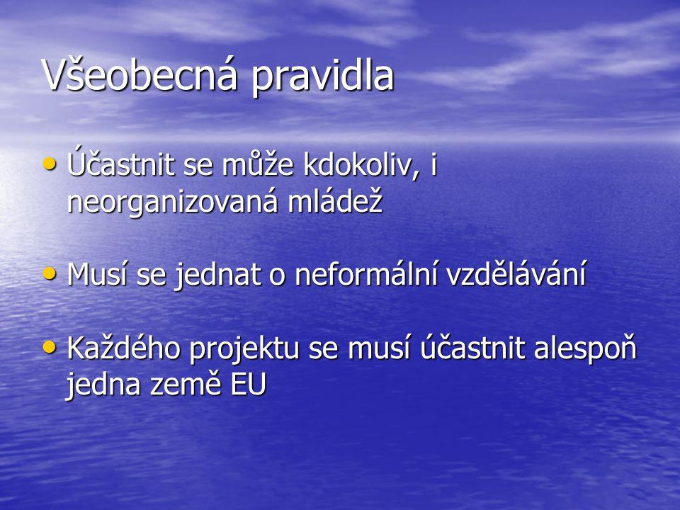 Všeobecná pravidla • Účastnit se může kdokoliv, i neorganizovaná mládež • Musí se jednat o neformální vzdělávání • Každého projektu se musí účastnit alespoň jedna země EU
