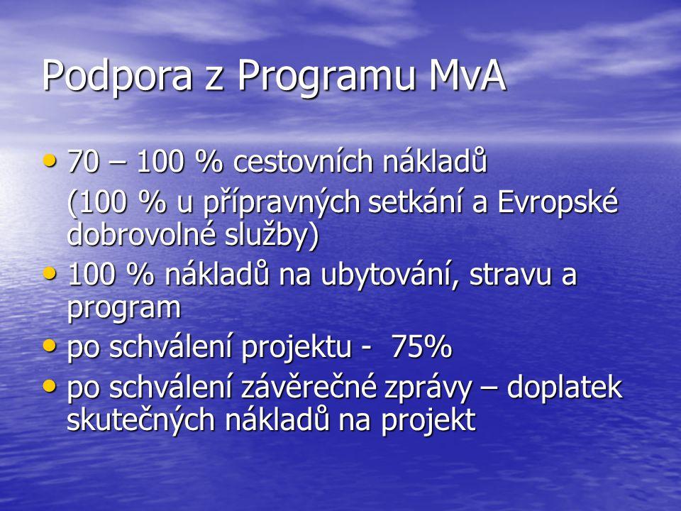 Podpora z Programu MvA • 70 – 100 % cestovních nákladů (100 % u přípravných setkání a Evropské dobrovolné služby) • 100 % nákladů na ubytování, stravu a program • po schválení projektu - 75% • po schválení závěrečné zprávy – doplatek skutečných nákladů na projekt