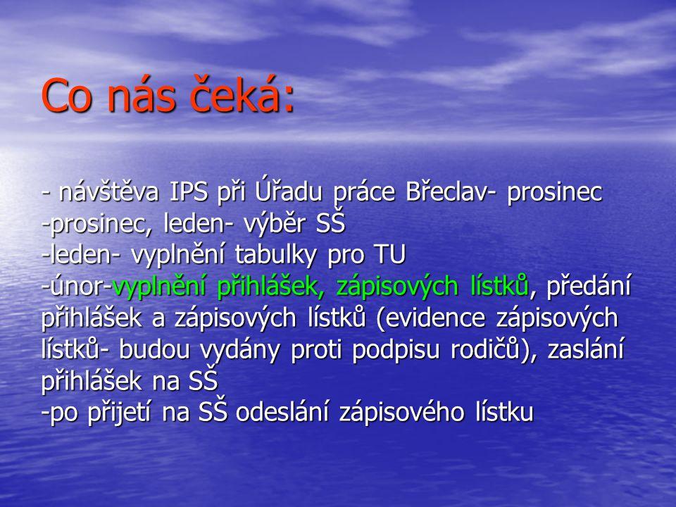 Co nás čeká: - návštěva IPS při Úřadu práce Břeclav- prosinec -prosinec, leden- výběr SŠ -leden- vyplnění tabulky pro TU -únor-vyplnění přihlášek, záp