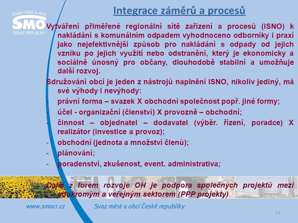 Integrace záměrů a procesů Vytváření přiměřené regionální sítě zařízení a procesů (ISNO) k nakládání s komunálním odpadem vyhodnoceno odborníky i prax