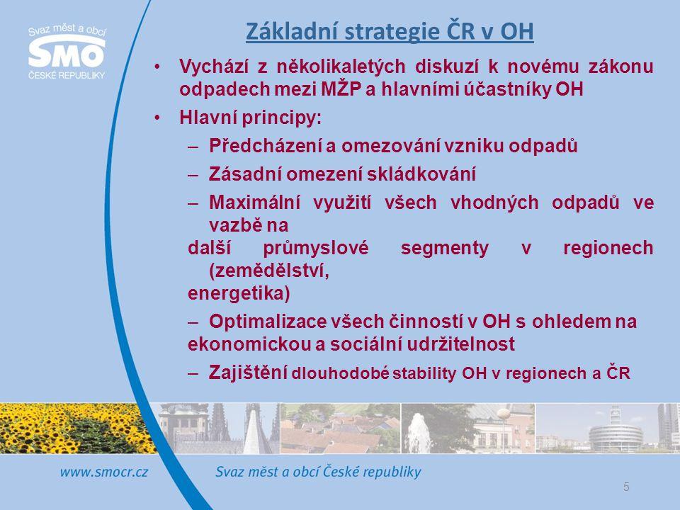 Základní strategie ČR v OH •Vychází z několikaletých diskuzí k novému zákonu odpadech mezi MŽP a hlavními účastníky OH •Hlavní principy: –Předcházení