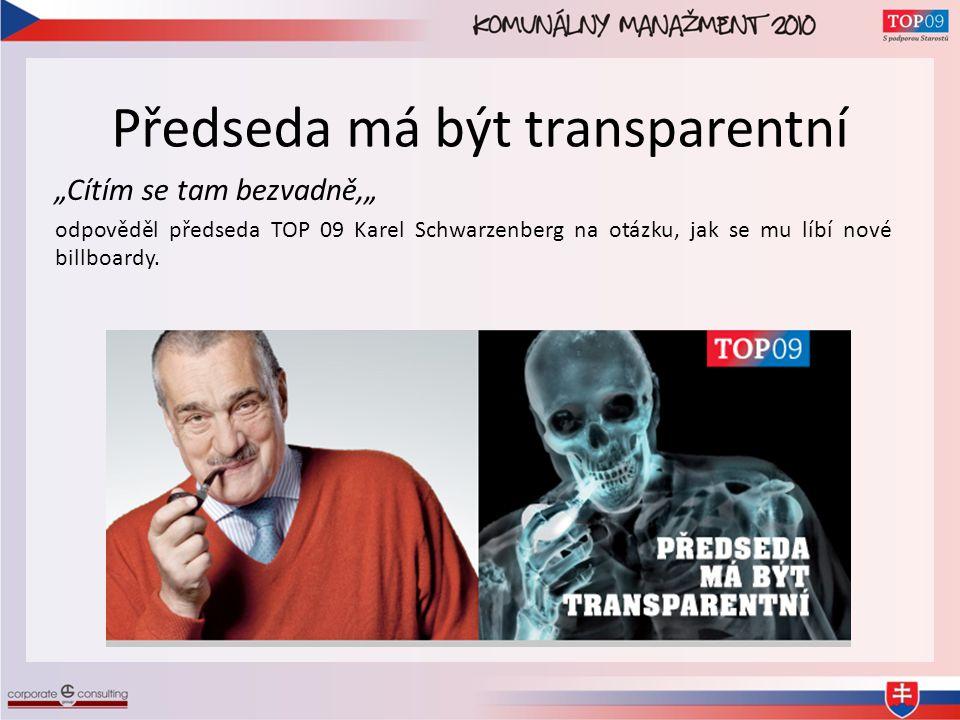 """Předseda má být transparentní """"Cítím se tam bezvadně,"""" odpověděl předseda TOP 09 Karel Schwarzenberg na otázku, jak se mu líbí nové billboardy."""