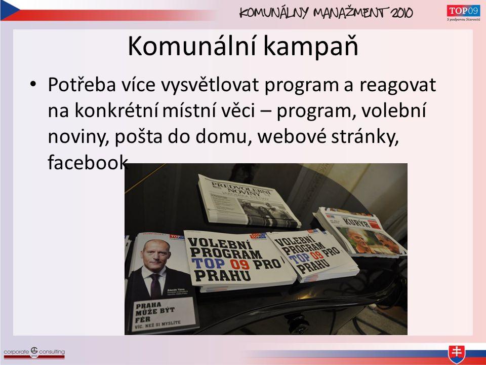 Komunální kampaň • Potřeba více vysvětlovat program a reagovat na konkrétní místní věci – program, volební noviny, pošta do domu, webové stránky, facebook