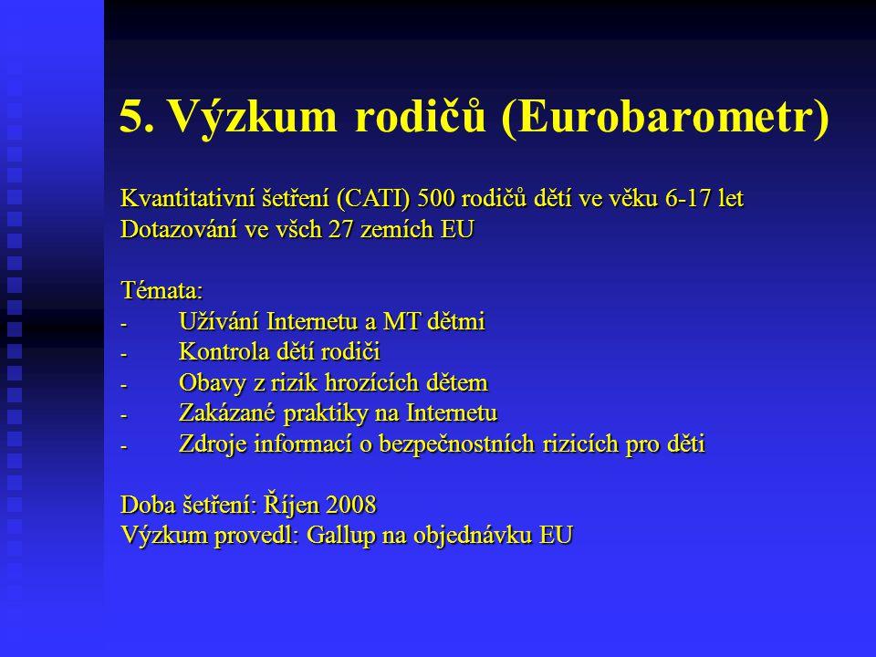 5. Výzkum rodičů (Eurobarometr) Kvantitativní šetření (CATI) 500 rodičů dětí ve věku 6-17 let Dotazování ve všch 27 zemích EU Témata: - Užívání Intern