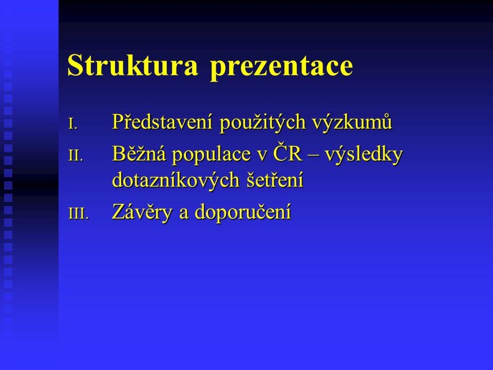 Struktura prezentace I. Představení použitých výzkumů II.