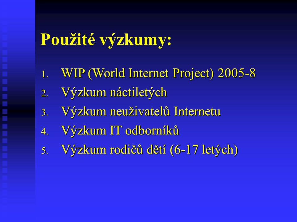 Použité výzkumy: 1. WIP (World Internet Project) 2005-8 2.