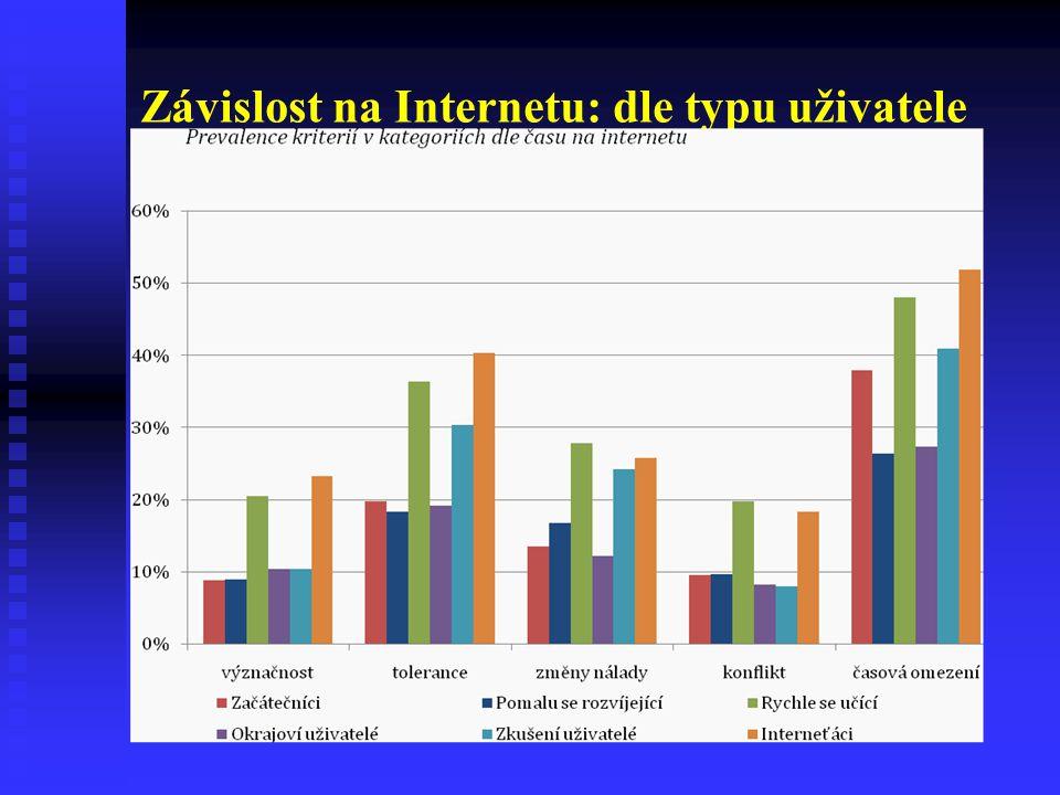 Závislost na Internetu: dle typu uživatele