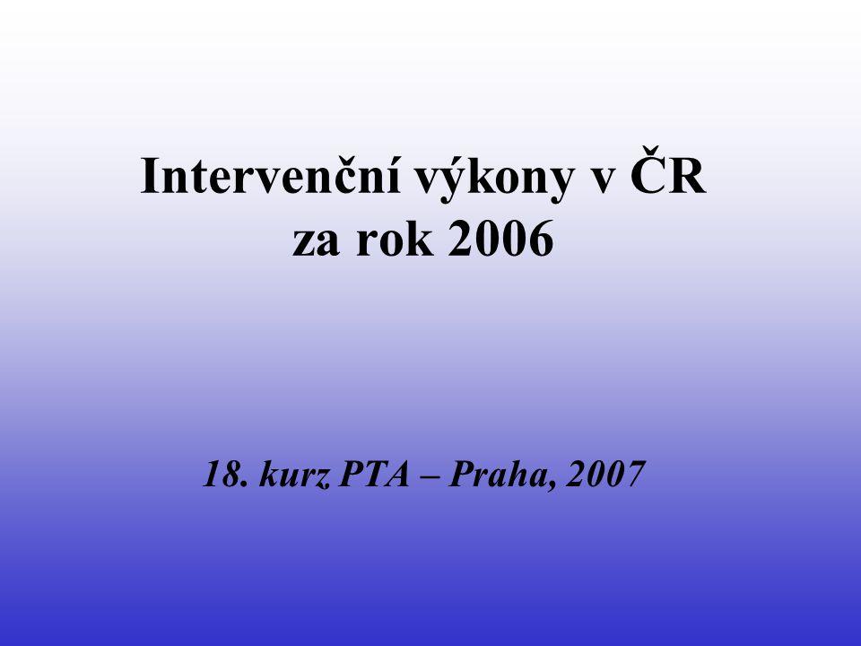 Statistické údaje o počtu PTA a cévních intervencí v ČR • r.