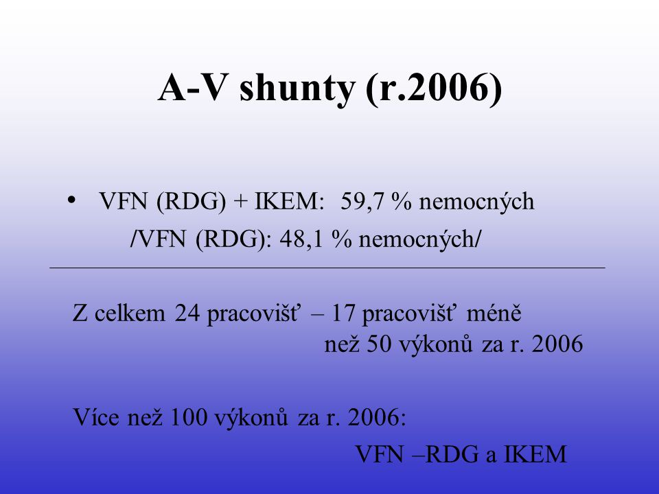 A-V shunty (r.2006) • VFN (RDG) + IKEM: 59,7 % nemocných /VFN (RDG): 48,1 % nemocných/ Z celkem 24 pracovišť – 17 pracovišť méně než 50 výkonů za r.