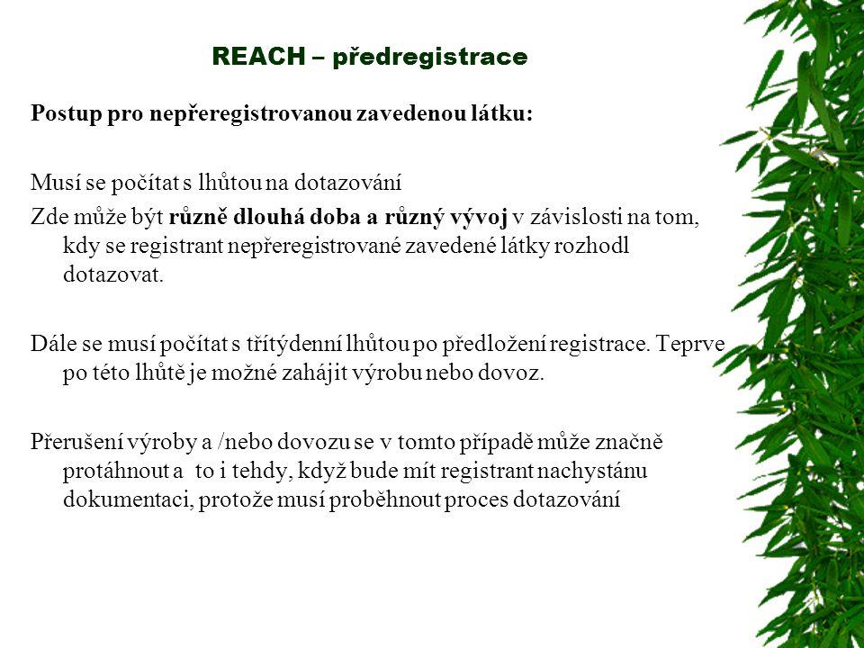 REACH – předregistrace Postup pro nepřeregistrovanou zavedenou látku: Musí se počítat s lhůtou na dotazování Zde může být různě dlouhá doba a různý vývoj v závislosti na tom, kdy se registrant nepřeregistrované zavedené látky rozhodl dotazovat.