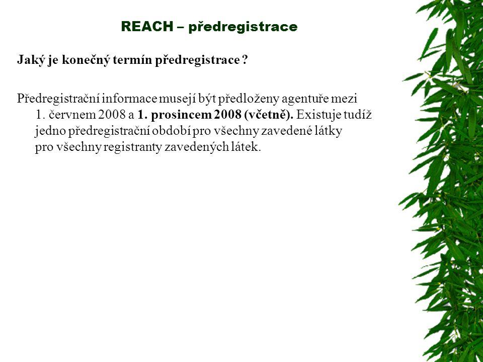 REACH – předregistrace Jaký je konečný termín předregistrace ? Předregistrační informace musejí být předloženy agentuře mezi 1. červnem 2008 a 1. pros