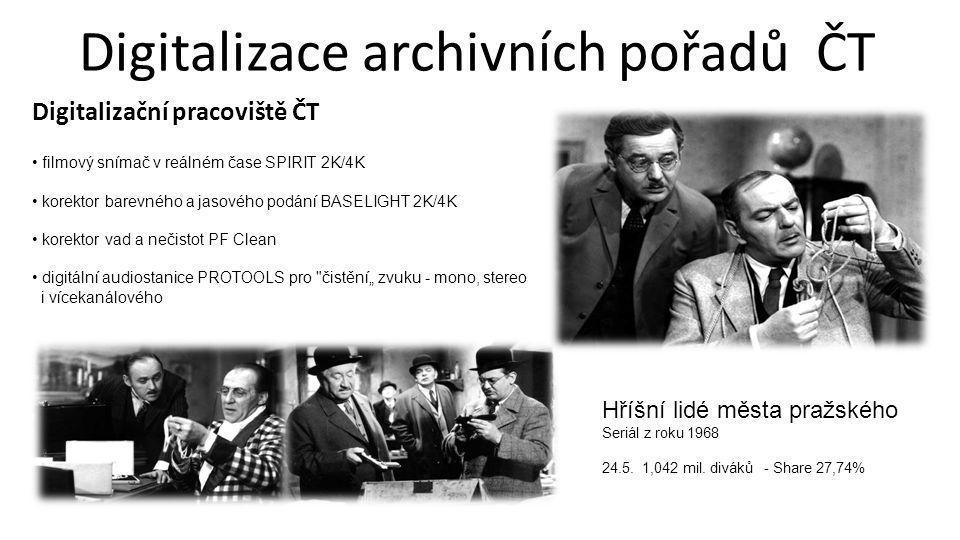 Digitalizace archivních pořadů ČT Digitalizační pracoviště ČT • filmový snímač v reálném čase SPIRIT 2K/4K • korektor barevného a jasového podání BASE