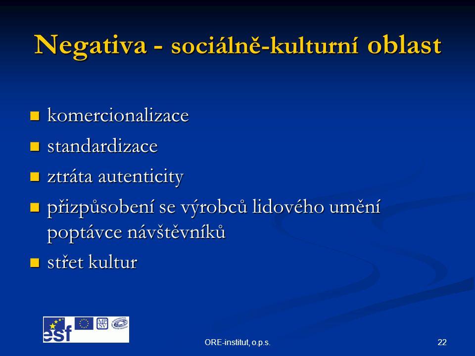 22ORE-institut, o.p.s. Negativa - sociálně-kulturní oblast  komercionalizace  standardizace  ztráta autenticity  přizpůsobení se výrobců lidového