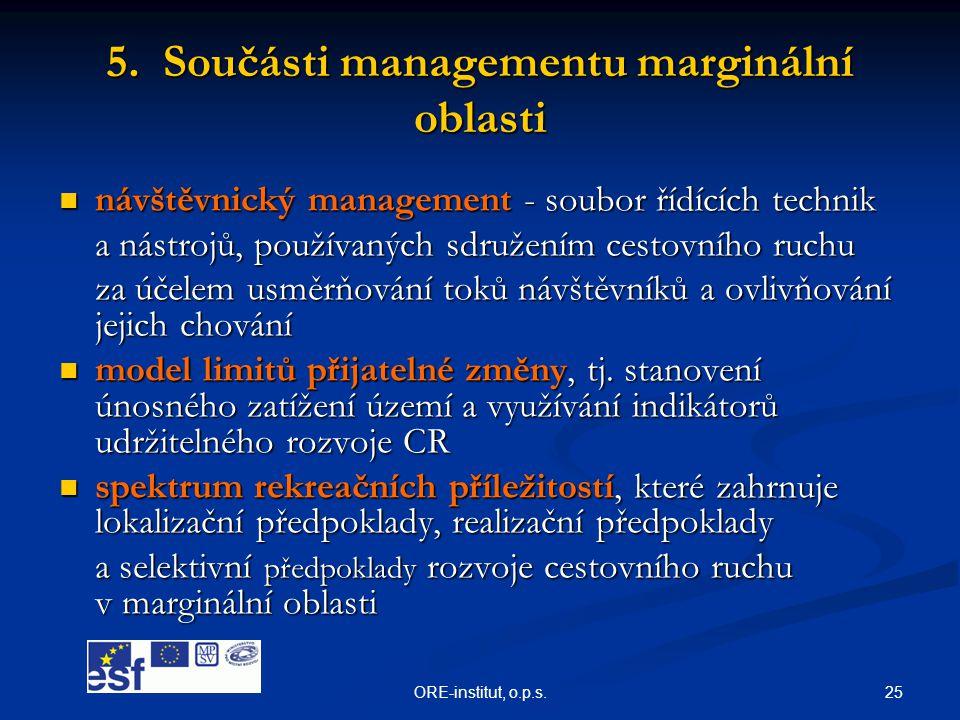 25ORE-institut, o.p.s. 5. Součásti managementu marginální oblasti  návštěvnický management - soubor řídících technik a nástrojů, používaných sdružení