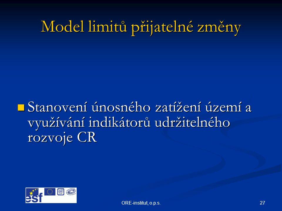 27ORE-institut, o.p.s. Model limitů přijatelné změny  Stanovení únosného zatížení území a využívání indikátorů udržitelného rozvoje CR