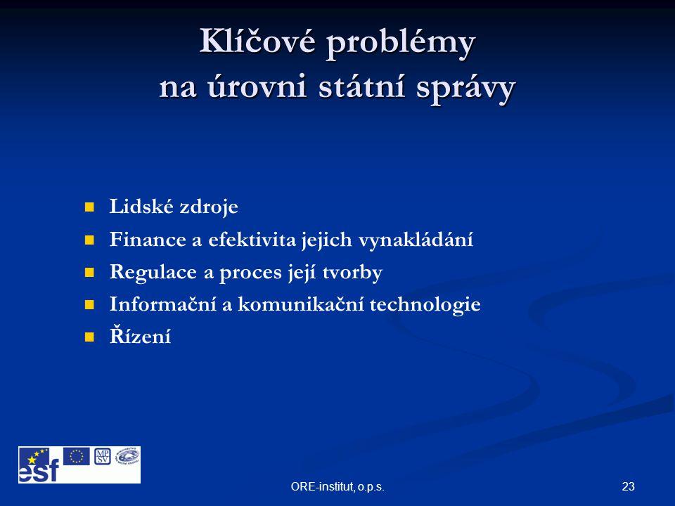 23ORE-institut, o.p.s. Klíčové problémy na úrovni státní správy   Lidské zdroje   Finance a efektivita jejich vynakládání   Regulace a proces je