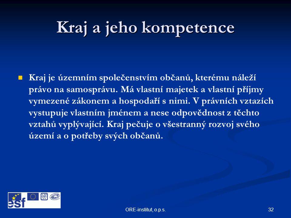 32ORE-institut, o.p.s. Kraj a jeho kompetence   Kraj je územním společenstvím občanů, kterému náleží právo na samosprávu. Má vlastní majetek a vlast