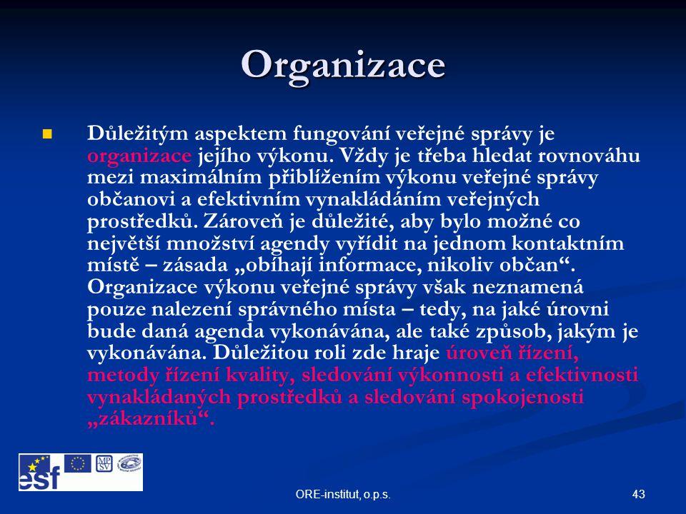 43ORE-institut, o.p.s. Organizace   Důležitým aspektem fungování veřejné správy je organizace jejího výkonu. Vždy je třeba hledat rovnováhu mezi max