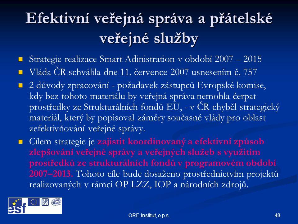 48ORE-institut, o.p.s. Efektivní veřejná správa a přátelské veřejné služby   Strategie realizace Smart Adinistration v období 2007 – 2015   Vláda