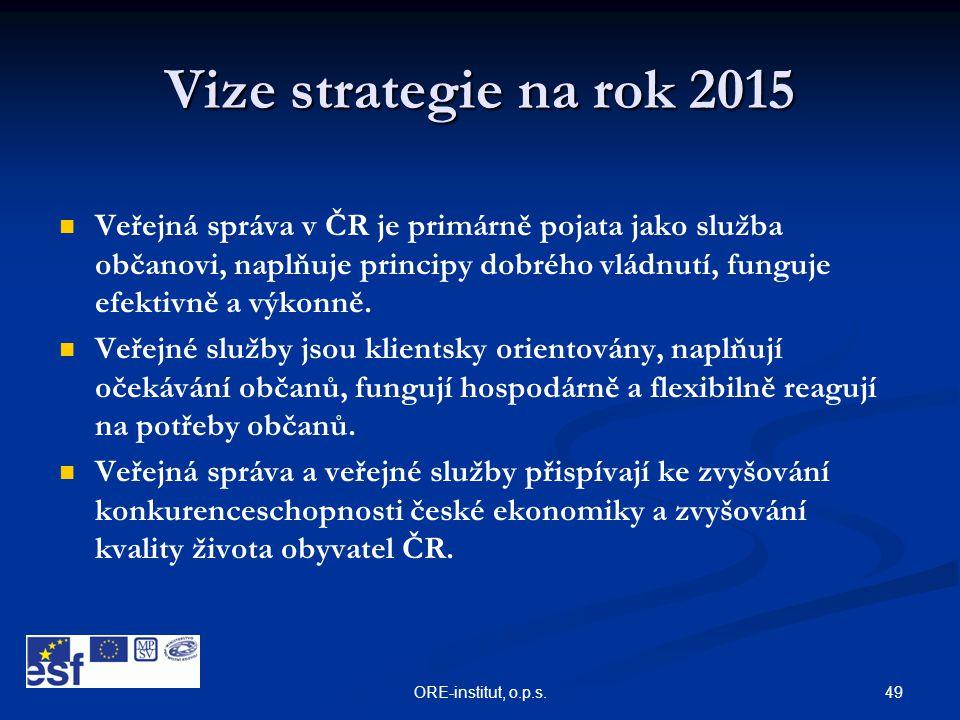 49ORE-institut, o.p.s. Vize strategie na rok 2015   Veřejná správa v ČR je primárně pojata jako služba občanovi, naplňuje principy dobrého vládnutí,