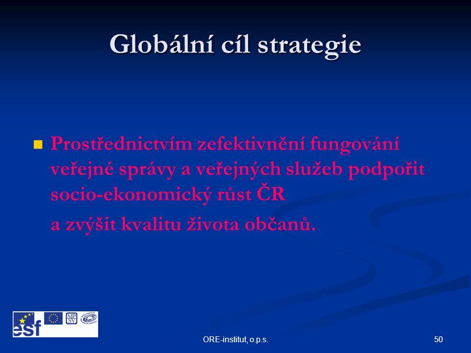 50ORE-institut, o.p.s. Globální cíl strategie   Prostřednictvím zefektivnění fungování veřejné správy a veřejných služeb podpořit socio-ekonomický r