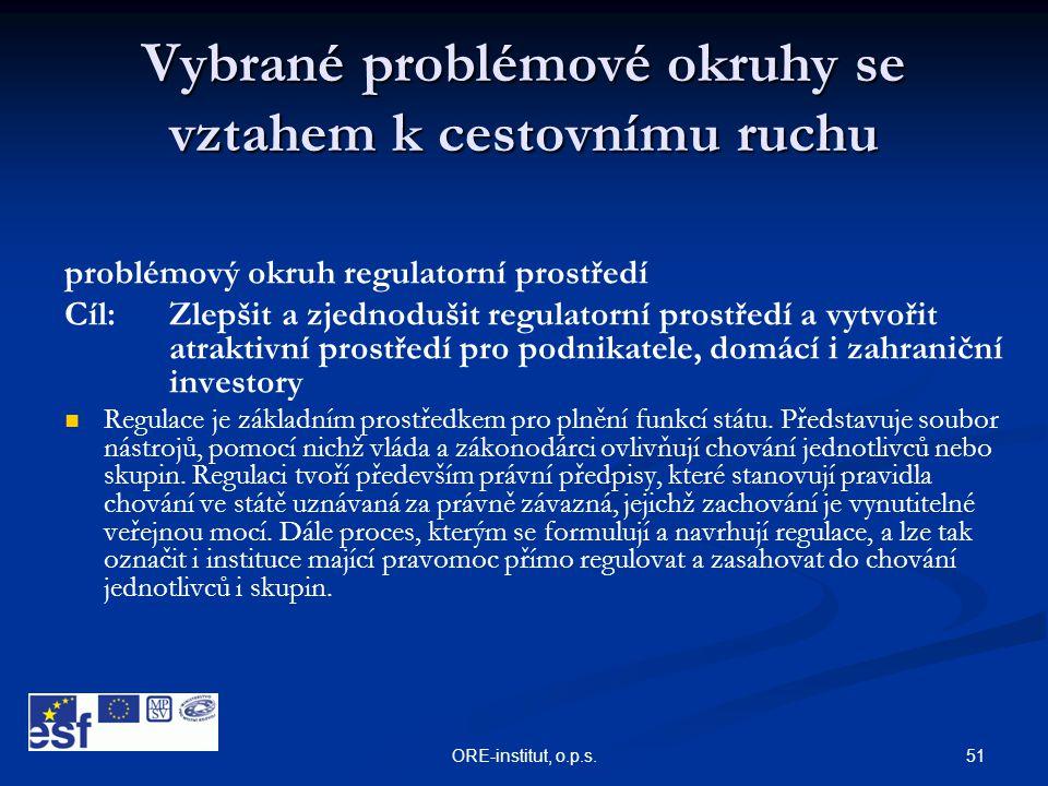 51ORE-institut, o.p.s. Vybrané problémové okruhy se vztahem k cestovnímu ruchu problémový okruh regulatorní prostředí Cíl: Zlepšit a zjednodušit regul