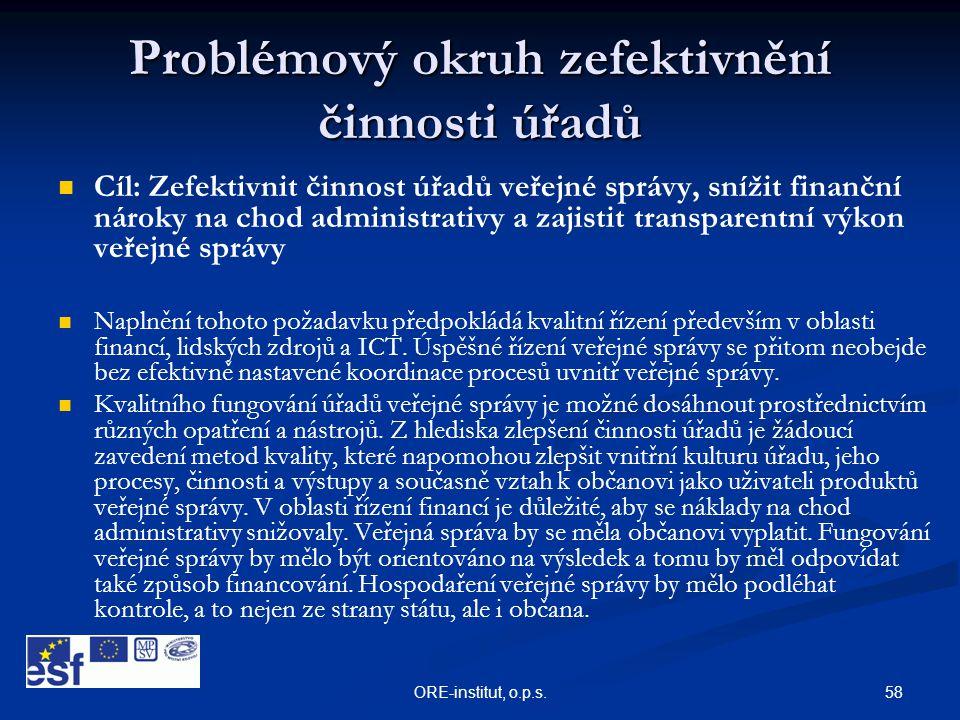58ORE-institut, o.p.s. Problémový okruh zefektivnění činnosti úřadů   Cíl: Zefektivnit činnost úřadů veřejné správy, snížit finanční nároky na chod