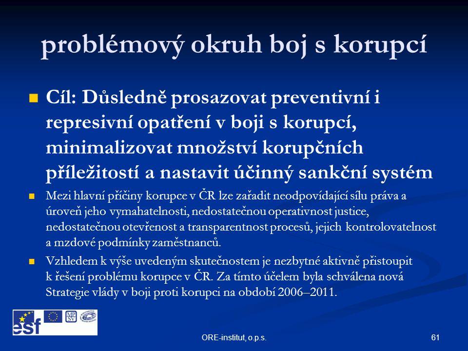 61ORE-institut, o.p.s. problémový okruh boj s korupcí   Cíl: Důsledně prosazovat preventivní i represivní opatření v boji s korupcí, minimalizovat m