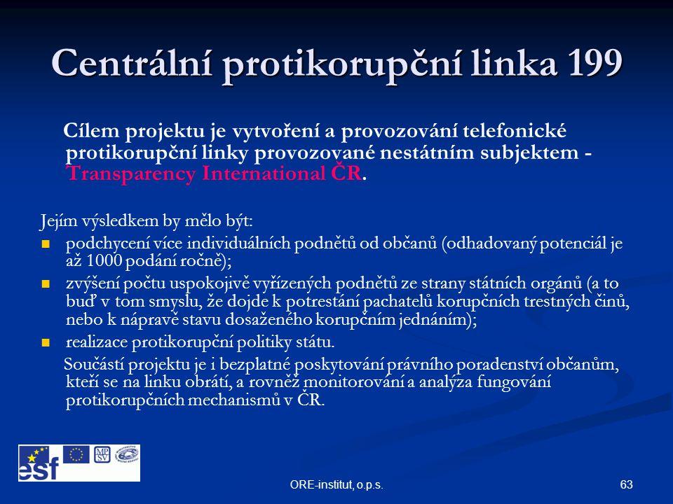 63ORE-institut, o.p.s. Centrální protikorupční linka 199 Cílem projektu je vytvoření a provozování telefonické protikorupční linky provozované nestátn