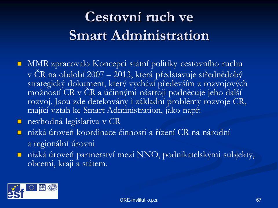 67ORE-institut, o.p.s. Cestovní ruch ve Smart Administration   MMR zpracovalo Koncepci státní politiky cestovního ruchu v ČR na období 2007 – 2013,