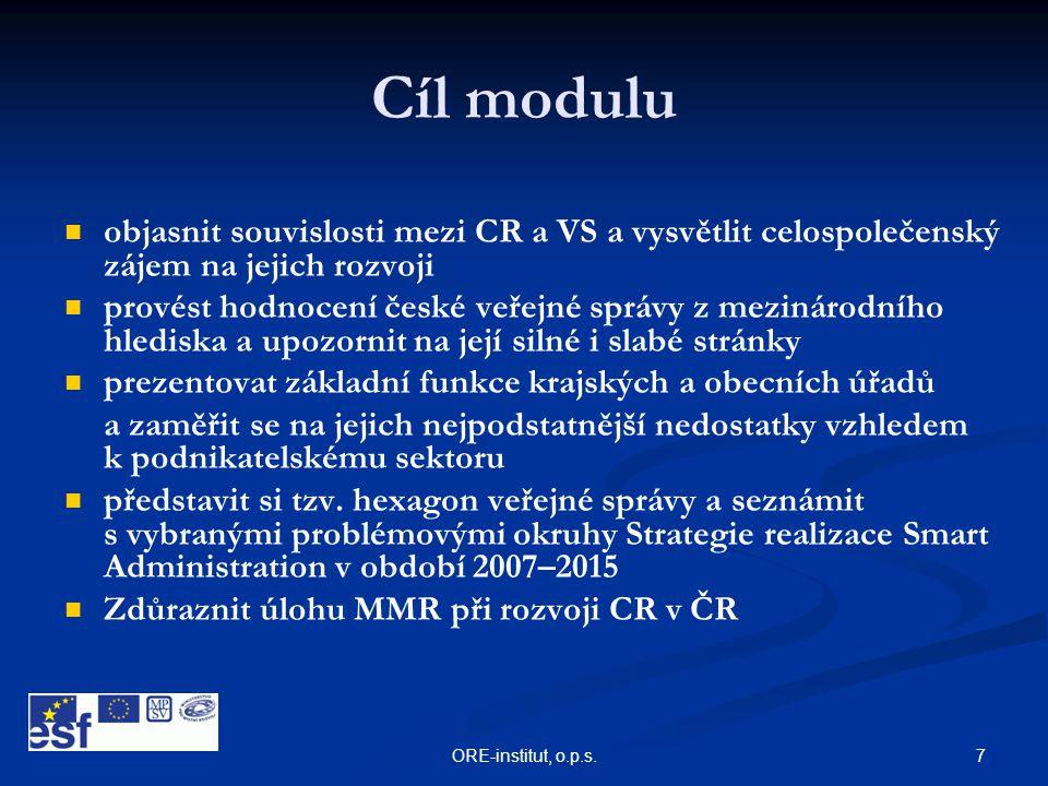 7ORE-institut, o.p.s. Cíl modulu   objasnit souvislosti mezi CR a VS a vysvětlit celospolečenský zájem na jejich rozvoji   provést hodnocení české