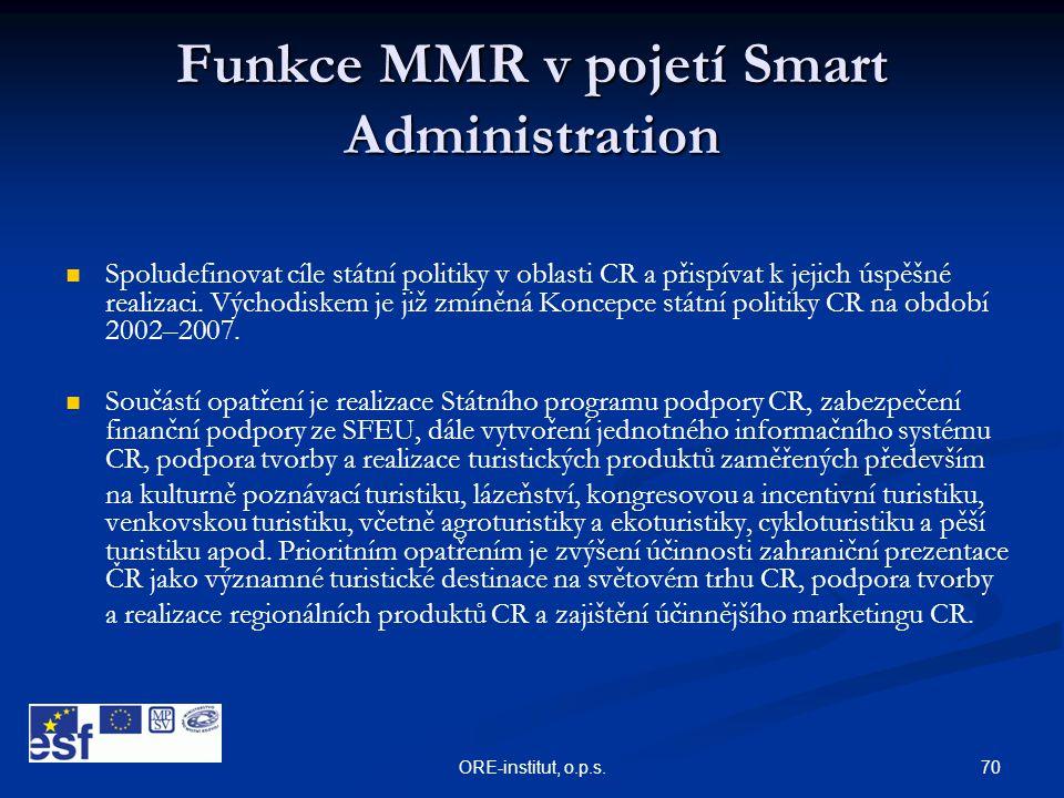 70ORE-institut, o.p.s. Funkce MMR v pojetí Smart Administration   Spoludefinovat cíle státní politiky v oblasti CR a přispívat k jejich úspěšné real