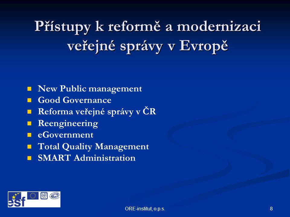 8ORE-institut, o.p.s. Přístupy k reformě a modernizaci veřejné správy v Evropě   New Public management   Good Governance   Reforma veřejné správ