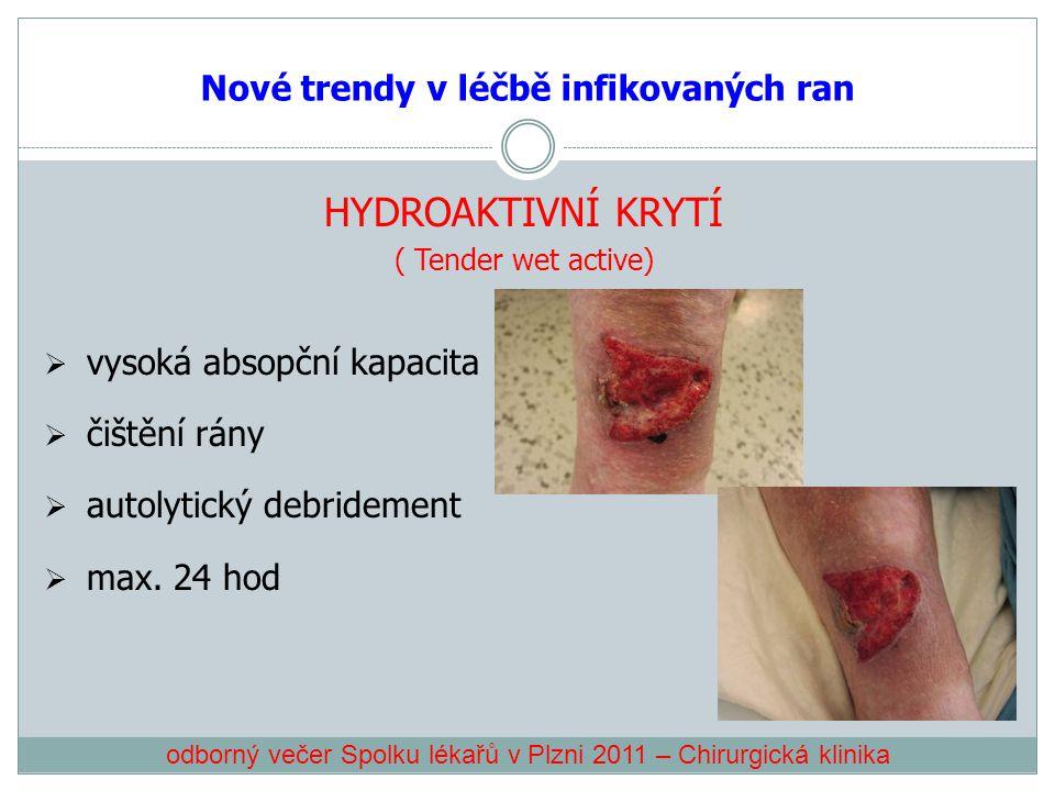 Nové trendy v léčbě infikovaných ran HYDROAKTIVNÍ KRYTÍ ( Tender wet active)  vysoká absopční kapacita  čištění rány  autolytický debridement  max