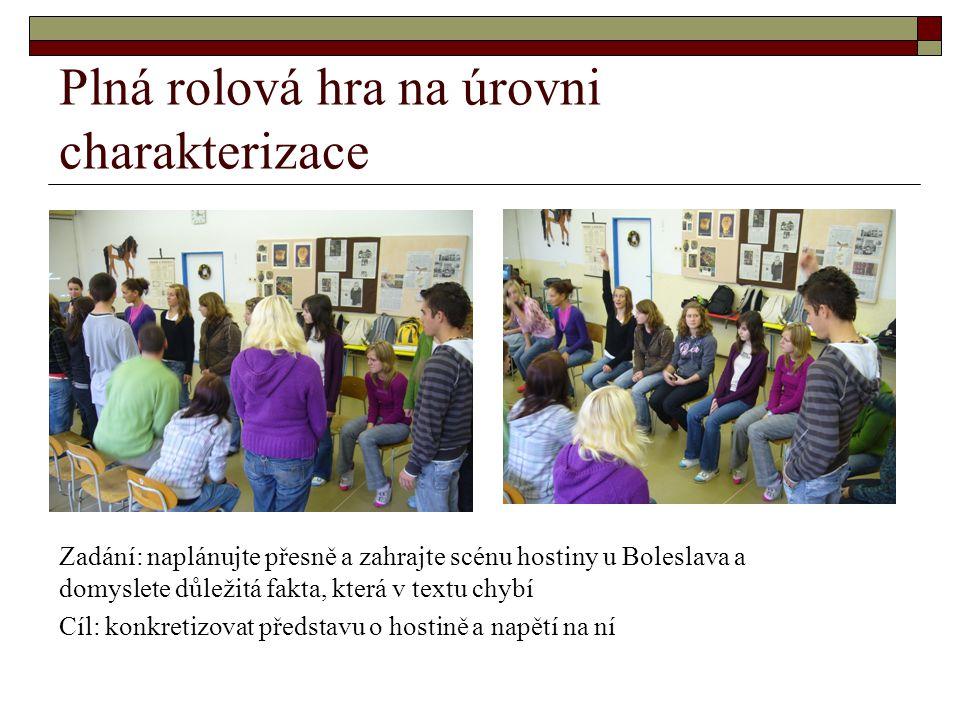 Plná rolová hra na úrovni charakterizace Zadání: naplánujte přesně a zahrajte scénu hostiny u Boleslava a domyslete důležitá fakta, která v textu chyb